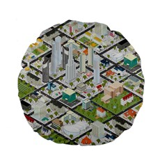 Simple Map Of The City Standard 15  Premium Flano Round Cushions