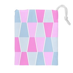 Geometric Pattern Design Pastels Drawstring Pouches (extra Large) by Nexatart