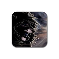 Angry Lion Digital Art Hd Rubber Coaster (square)