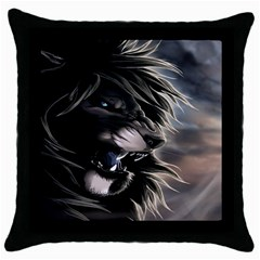 Angry Lion Digital Art Hd Throw Pillow Case (black)