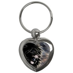 Angry Lion Digital Art Hd Key Chains (heart)  by Nexatart