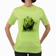 Lion Wildlife Art And Illustration Pencil Women s Green T Shirt