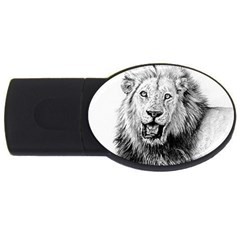 Lion Wildlife Art And Illustration Pencil Usb Flash Drive Oval (4 Gb)
