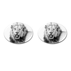 Lion Wildlife Art And Illustration Pencil Cufflinks (oval) by Nexatart