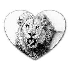 Lion Wildlife Art And Illustration Pencil Heart Mousepads