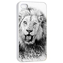 Lion Wildlife Art And Illustration Pencil Apple Iphone 4/4s Seamless Case (white)