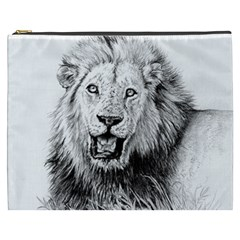 Lion Wildlife Art And Illustration Pencil Cosmetic Bag (xxxl)