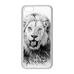 Lion Wildlife Art And Illustration Pencil Apple Iphone 5c Seamless Case (white) by Nexatart