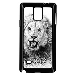 Lion Wildlife Art And Illustration Pencil Samsung Galaxy Note 4 Case (black) by Nexatart