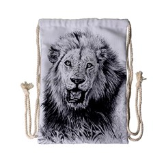 Lion Wildlife Art And Illustration Pencil Drawstring Bag (small) by Nexatart