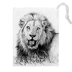 Lion Wildlife Art And Illustration Pencil Drawstring Pouches (xxl)