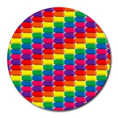 Rainbow 3d Cubes Red Orange Round Mousepads