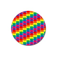 Rainbow 3d Cubes Red Orange Magnet 3  (round) by Nexatart