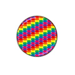 Rainbow 3d Cubes Red Orange Hat Clip Ball Marker