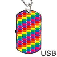 Rainbow 3d Cubes Red Orange Dog Tag Usb Flash (one Side) by Nexatart