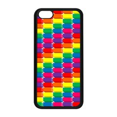 Rainbow 3d Cubes Red Orange Apple Iphone 5c Seamless Case (black)
