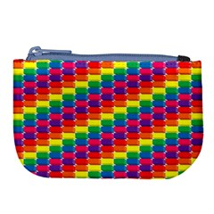 Rainbow 3d Cubes Red Orange Large Coin Purse by Nexatart