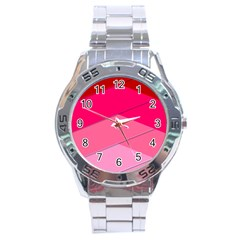 Geometric Shapes Magenta Pink Rose Stainless Steel Analogue Watch