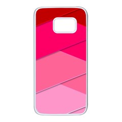 Geometric Shapes Magenta Pink Rose Samsung Galaxy S7 White Seamless Case