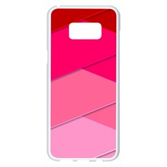 Geometric Shapes Magenta Pink Rose Samsung Galaxy S8 Plus White Seamless Case