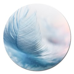 Feather Ease Slightly Blue Airy Magnet 5  (round)