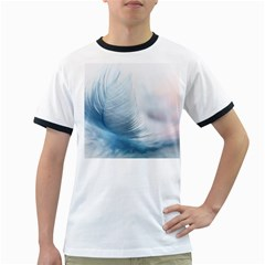 Feather Ease Slightly Blue Airy Ringer T Shirts