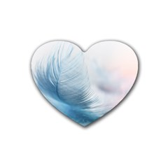 Feather Ease Slightly Blue Airy Rubber Coaster (heart)