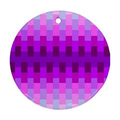 Geometric Cubes Pink Purple Blue Round Ornament (two Sides)