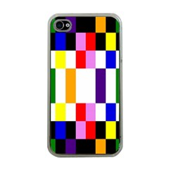 Rainbow Color Blocks Red Orange Apple Iphone 4 Case (clear)