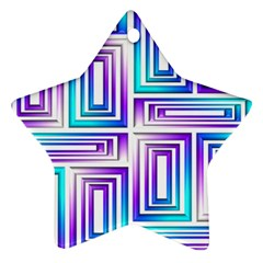 Geometric 3d Metallic Aqua Purple Star Ornament (two Sides)