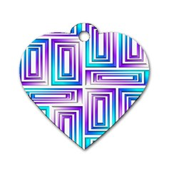 Geometric 3d Metallic Aqua Purple Dog Tag Heart (one Side) by Nexatart