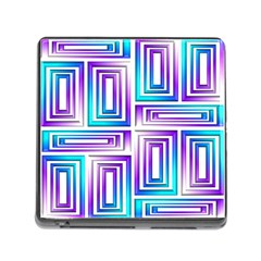 Geometric 3d Metallic Aqua Purple Memory Card Reader (square) by Nexatart