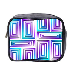 Geometric 3d Metallic Aqua Purple Mini Toiletries Bag 2 Side