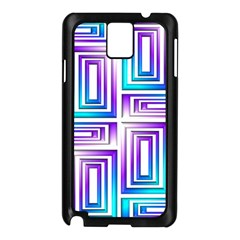 Geometric 3d Metallic Aqua Purple Samsung Galaxy Note 3 N9005 Case (black)