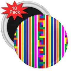 Rainbow Geometric Design Spectrum 3  Magnets (10 Pack)  by Nexatart