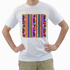 Rainbow Geometric Design Spectrum Men s T Shirt (white) (two Sided)