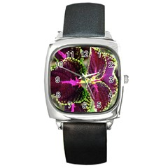 Plant Purple Green Leaves Garden Square Metal Watch