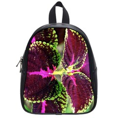 Plant Purple Green Leaves Garden School Bag (small) by Nexatart