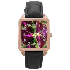 Plant Purple Green Leaves Garden Rose Gold Leather Watch  by Nexatart
