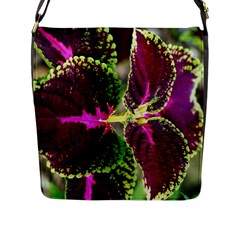 Plant Purple Green Leaves Garden Flap Messenger Bag (l)