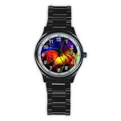 Fractal Pattern Abstract Chaos Stainless Steel Round Watch
