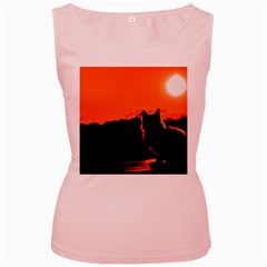 Sunset Cat Shadows Silhouettes Women s Pink Tank Top