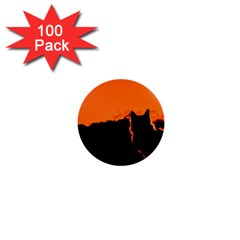 Sunset Cat Shadows Silhouettes 1  Mini Buttons (100 Pack)  by Nexatart