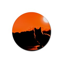 Sunset Cat Shadows Silhouettes Rubber Coaster (round)