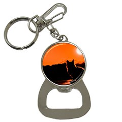 Sunset Cat Shadows Silhouettes Button Necklaces by Nexatart