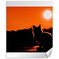 Sunset Cat Shadows Silhouettes Canvas 16  X 20