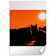 Sunset Cat Shadows Silhouettes Canvas 20  X 30