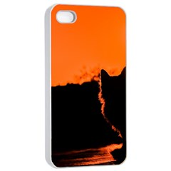Sunset Cat Shadows Silhouettes Apple Iphone 4/4s Seamless Case (white)
