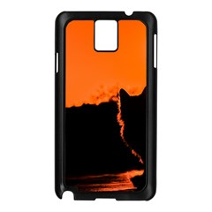 Sunset Cat Shadows Silhouettes Samsung Galaxy Note 3 N9005 Case (black)