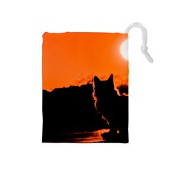 Sunset Cat Shadows Silhouettes Drawstring Pouches (medium)